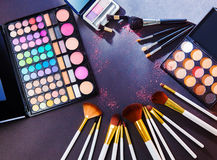 Makeup palette with makeup brush. Stock Photo