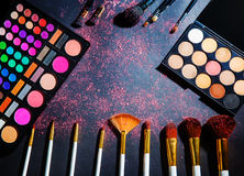 Makeup palette with makeup brush. Royalty Free Stock Photo