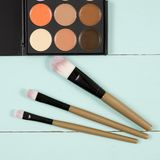 Makeup palette with makeup brush makeup background. Make up set soft makeup brushes and maskara on whight background Royalty Free Stock Images