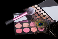 Makeup palette with makeup brush on pure black background. Royalty Free Stock Image