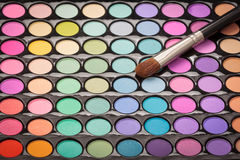 Makeup palette with makeup brush. View from above Stock Photography