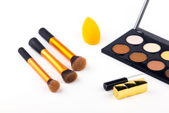 Makeup Palette and tools on a white background Royalty Free Stock Photography