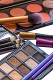 Makeup Palettes. With brushes. Eye shadows and blushes with makeup brushes Royalty Free Stock Photos