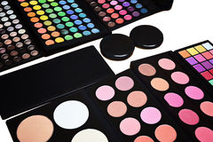 Makeup pallette with eyeshadow powder lipstick and Royalty Free Stock Image