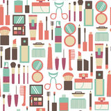 Makeup pattern. Seamless pattern with makeup icons vector illustration