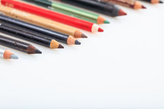 Makeup pencils set isolated on white background stock photography