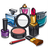 Makeup and perfumes. Illustration of the makeup and perfumes Royalty Free Stock Images