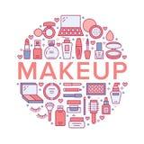 Makeup piękna opieki czerwonego okręgu pojęcia linii plakatowe ikony Kosmetyk ilustracje pomadka, tusz do rzęs, proszek ilustracja wektor