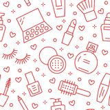 Makeup piękna opieki czerwony bezszwowy wzór z mieszkanie linii ikonami Kosmetyk ilustracje pomadka, tusz do rzęs, pachnidło royalty ilustracja
