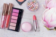 Makeup piękna produkty Obrazy Royalty Free