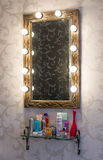 Makeup place. Woman's makeup place with mirror Royalty Free Stock Images