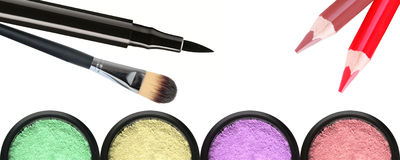 Makeup poducts που απομονώνεται στο λευκό στοκ εικόνες με δικαίωμα ελεύθερης χρήσης