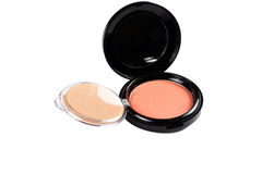 Makeup powder in Black case on white background. Royalty Free Stock Photo