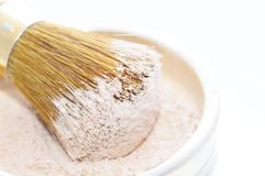 Makeup Powder and Brush Royalty Free Stock Images
