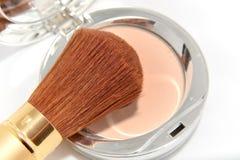 Makeup powder with brush. Makeup powder kit with brush royalty free stock photo