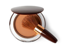 Makeup Powder and Brush. On a white background Royalty Free Stock Images