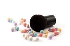 Makeup powder with brush Stock Photography