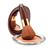 Makeup Powder and Brush Royalty Free Stock Photo
