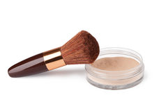 Makeup Powder and Brush Royalty Free Stock Photography