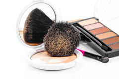 Makeup Powder and Brush Stock Images