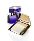 Makeup powder and Perfume Royalty Free Stock Images