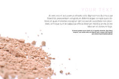 Makeup powder with text isolated on white background. Flyer, banner or catalog page concept. Stock Images