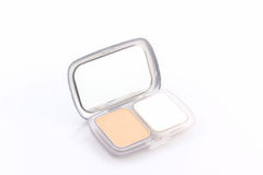 Makeup powder in white case. Royalty Free Stock Photos