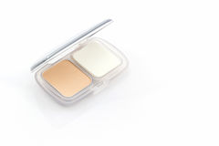 Makeup powder in white case . Royalty Free Stock Image