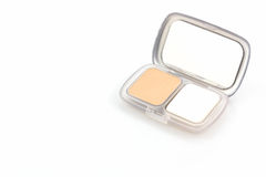 Makeup powder in white case. Royalty Free Stock Photography