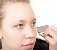 Makeup process  shot �14 Royalty Free Stock Image