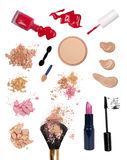Makeup products. Isolated on white background Stock Photos
