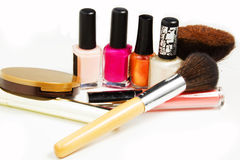 Makeup products. On a white background Stock Photos