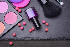 Makeup products or accessories. Blush, nail polish, sponges and brushes Stock Photography