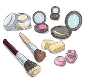 Makeup products drawing. Fashion illustration. Stock Image