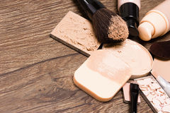 Makeup products for flawless complexion with copy space. Make up products for flawless complexion: foundation, concealer, powder with cosmetic sponge and stock image