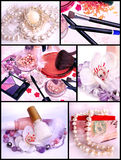 Makeup products and jewelry - collage. Beautiful cosmetics presentation with Makeup products and jewelry - collage Royalty Free Stock Photo
