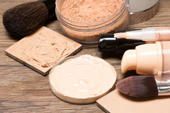 Makeup products to even out skin tone and complexion. Foundation, concealer, powder. Selective focus royalty free stock photo