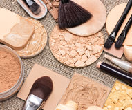 Makeup products to even skin tone and complexion. Basic makeup products to create beautiful skin tone and complexion. Correctors, foundation, powder, bronzer Royalty Free Stock Images