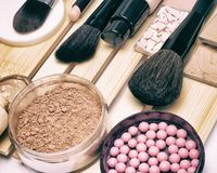Makeup products to hide pigmentary imperfections. Makeup products and accessories to hide pigmentary imperfections, even out skin tone and complexion: concealer Stock Photo