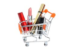 Makeup in pushcart isolated on white Royalty Free Stock Photography
