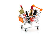 Makeup in pushcart isolated on white background.  stock image