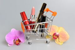 Makeup in pushcart with orchid flowers on gray Royalty Free Stock Image