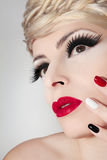 Makeup with red lips. Royalty Free Stock Image