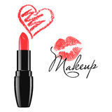 Makeup red lipstick and doodle heart isolated vector illustration. Makeup red lipstick and doodle heart isolated over white background. Cosmetic product design royalty free illustration