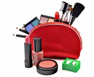 Makeup in a red suitcase Royalty Free Stock Image
