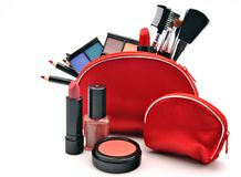 Makeup in a red suitcase Royalty Free Stock Photography