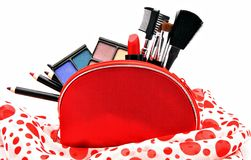 Makeup in a red suitcase Stock Photo