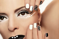 Makeup with rhinestones. Royalty Free Stock Images