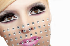 Makeup with rhinestones. Stock Images