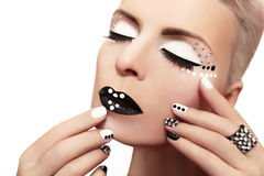 Makeup with rhinestones. Stock Photo